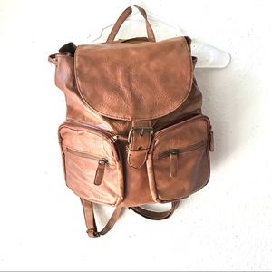 Vegan leather light brown backpack